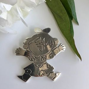 VTG Sterling Silver Happy Child Pin Brooch